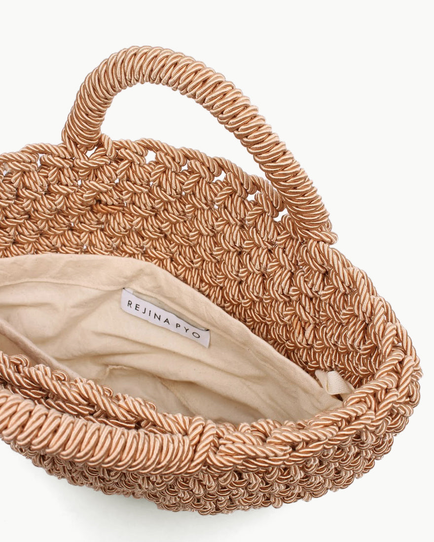 Rose Satin Rope Woven Bag Natural - SPECIAL PRICE