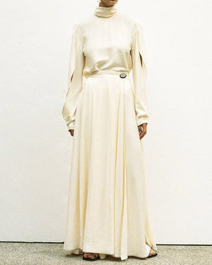 Evelyn Rayon White Long Wrap Skirt