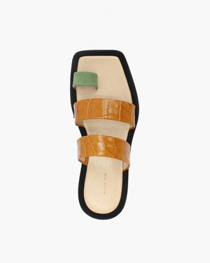 Larissa Three Strap Sandals Suede Sage Green + Leather Croc Tan