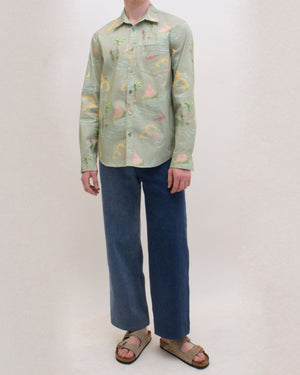 Turner Shirt Cotton Print Hawaiian Khaki  - UNISEX