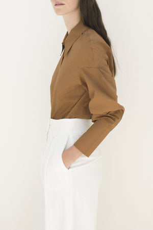 Tate 3D Sleeve Shirt Cotton Poplin Hazelnut Brown