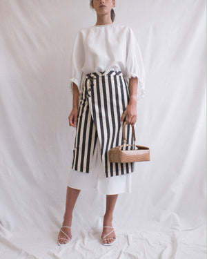 Steffi Skirt in Cotton Denim Stripe Black + Cotton Off-White