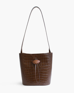 Naomi Bag with Natural Wood Closure Leather Croc Brown
