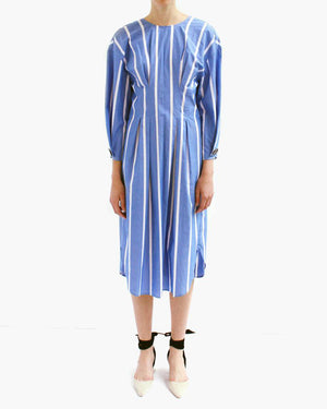 Maya Tie-Back Detail Dress Cotton Stripe Blue - SPECIAL PRICE
