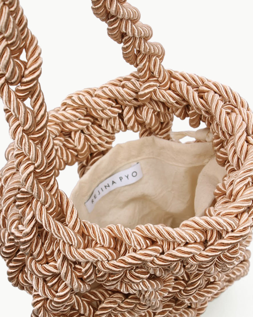 Sylvia Satin Rope Woven Bag Natural - SPECIAL PRICE