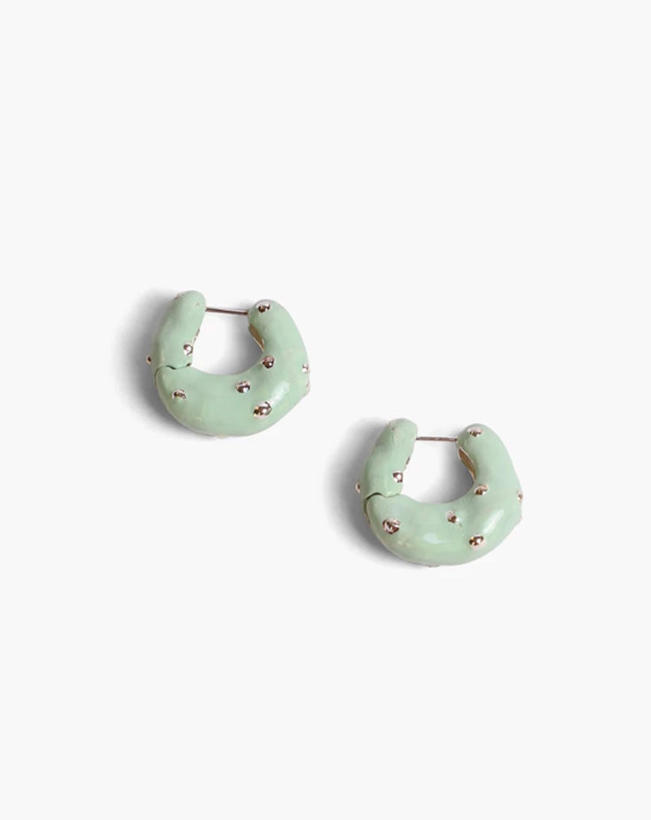 Iris Hoops Silver Plated Boule with Pistachio Enamel
