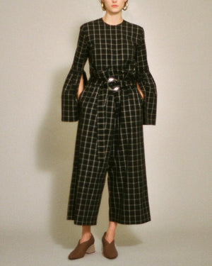 Tilly Belted Trousers Detail Cotton Black and White Check - SPECIAL PRICE