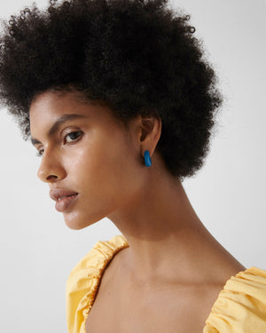 Volume Hoops Gold Plated with Blue Enamel