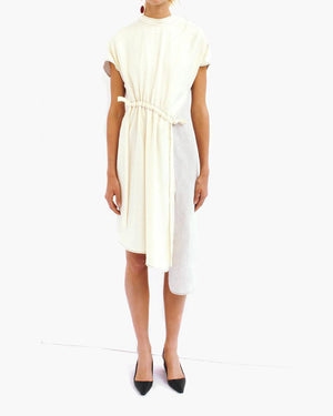 Kesia Drawstring Detail Dress Linen Light Grey + White - SPECIAL PRICE