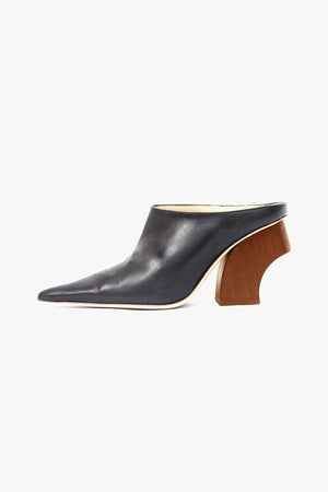 Yasmin Mule with Honey Heel Leather Black