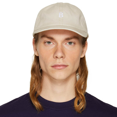 B LOGO EMBROIDERED CAP TAN