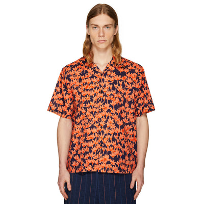 PRINTED SUMMER SHIRT CORAL/NAVY