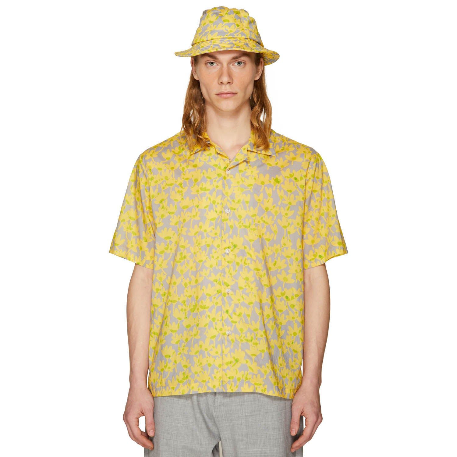 PRINTED SUMMER SHIRT LEMON YELLOW/ICE GREY