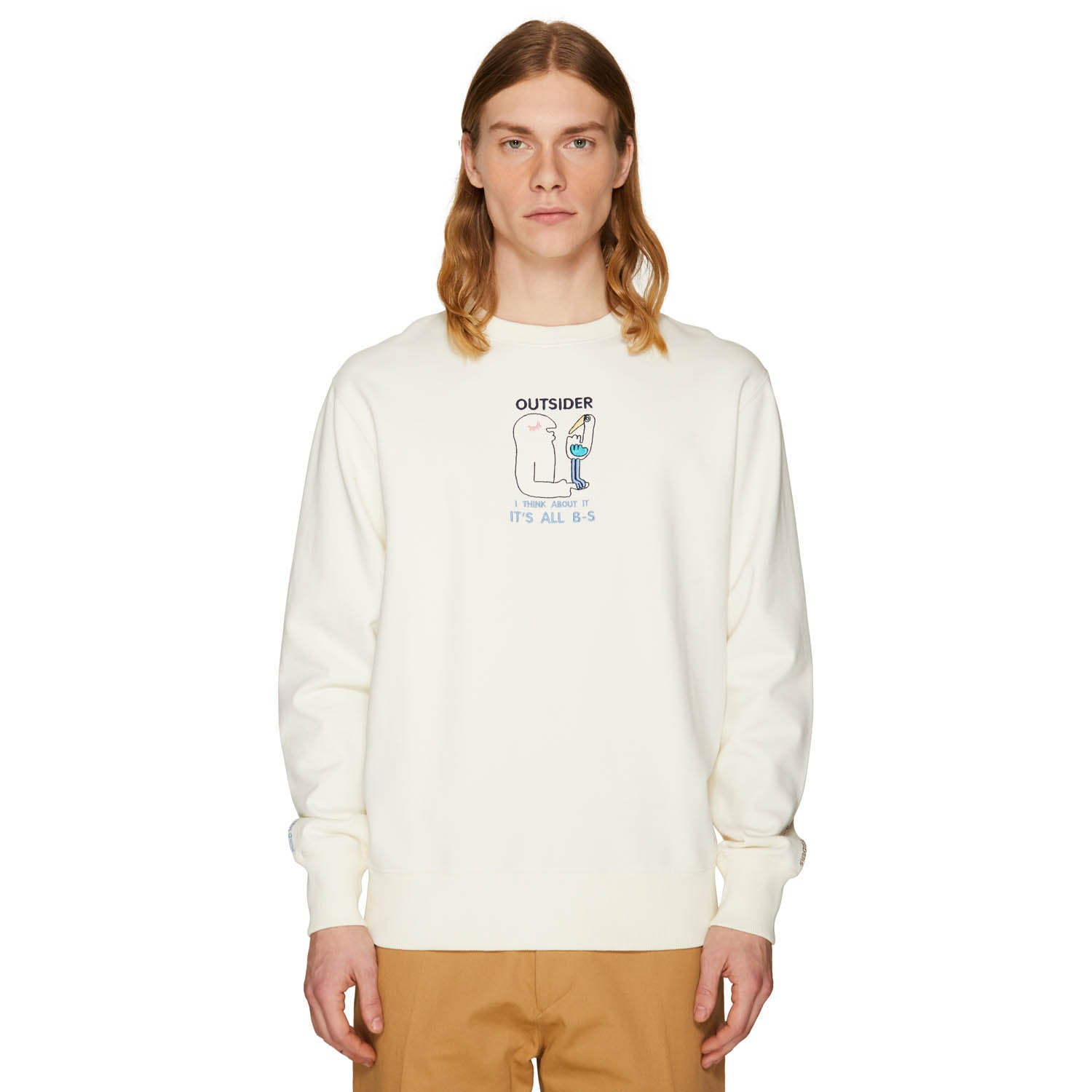 EMBROIDERED CREW NECK SWEATSHIRT OFF-WHITE