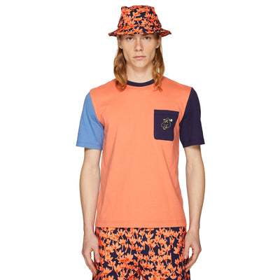 RISO DUDE COLOURBLOCK T-SHIRT BLUE WATER/CORAL