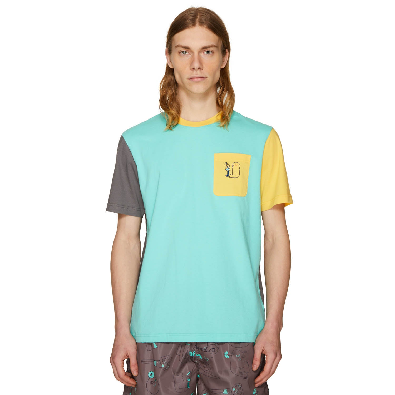 RISO DUDE COLOURBLOCK T-SHIRT DARK GREY/AQUA