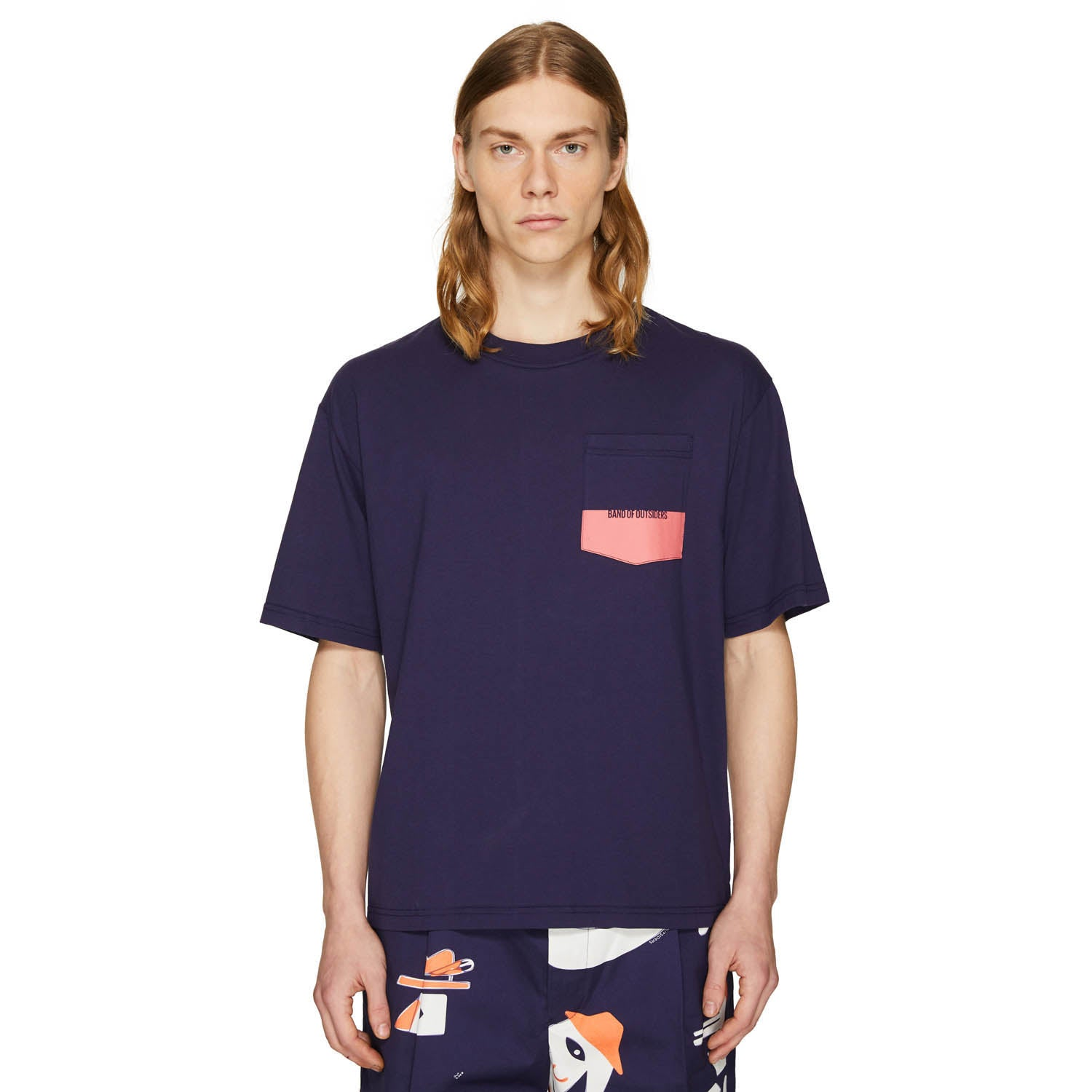 PRINTED OVERSIZED T-SHIRT NAVY