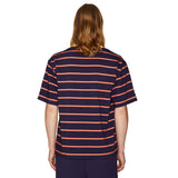 OVERSIZED STRIPED T-SHIRT CORAL/NAVY