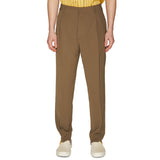 LINEN SINGLE PLEAT TROUSERS OLIVE