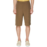 LINEN SINGLE PLEAT SHORTS OLIVE
