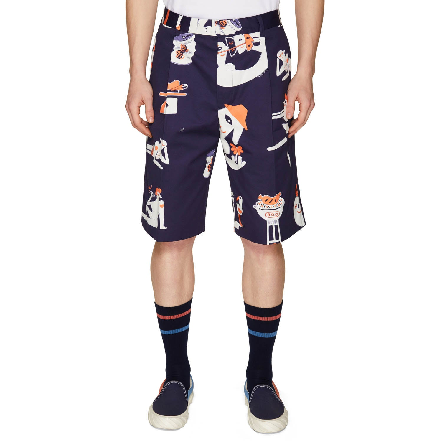 PRINTED SINGLE PLEAT SHORTS NAVY