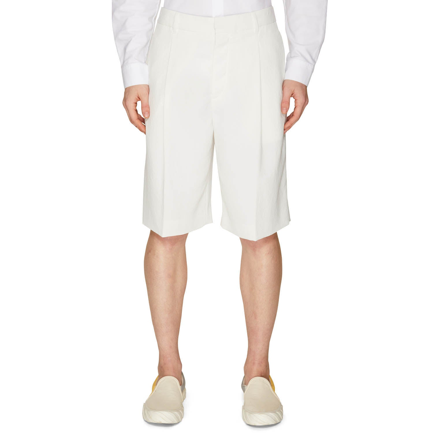 LINEN SINGLE PLEAT SHORTS OFF-WHITE
