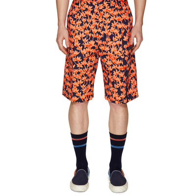 PRINTED SINGLE PLEAT SHORTS CORAL/NAVY