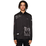 Man On The Moon Print Shirt Black