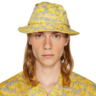 RISO FLOWER BUCKET HAT LEMON YELLOW/ICE GREY
