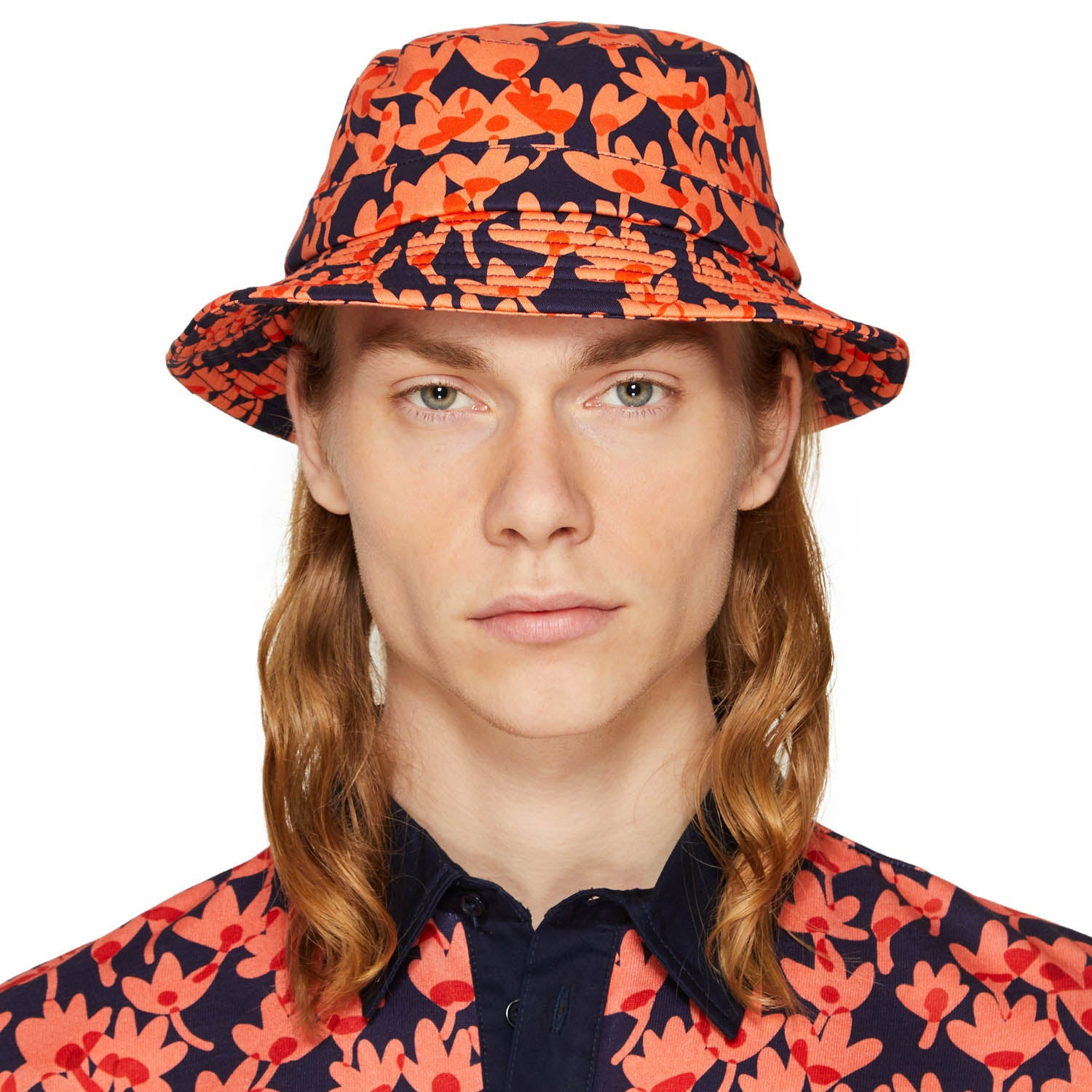 RISO FLOWER BUCKET HAT CORAL/NAVY