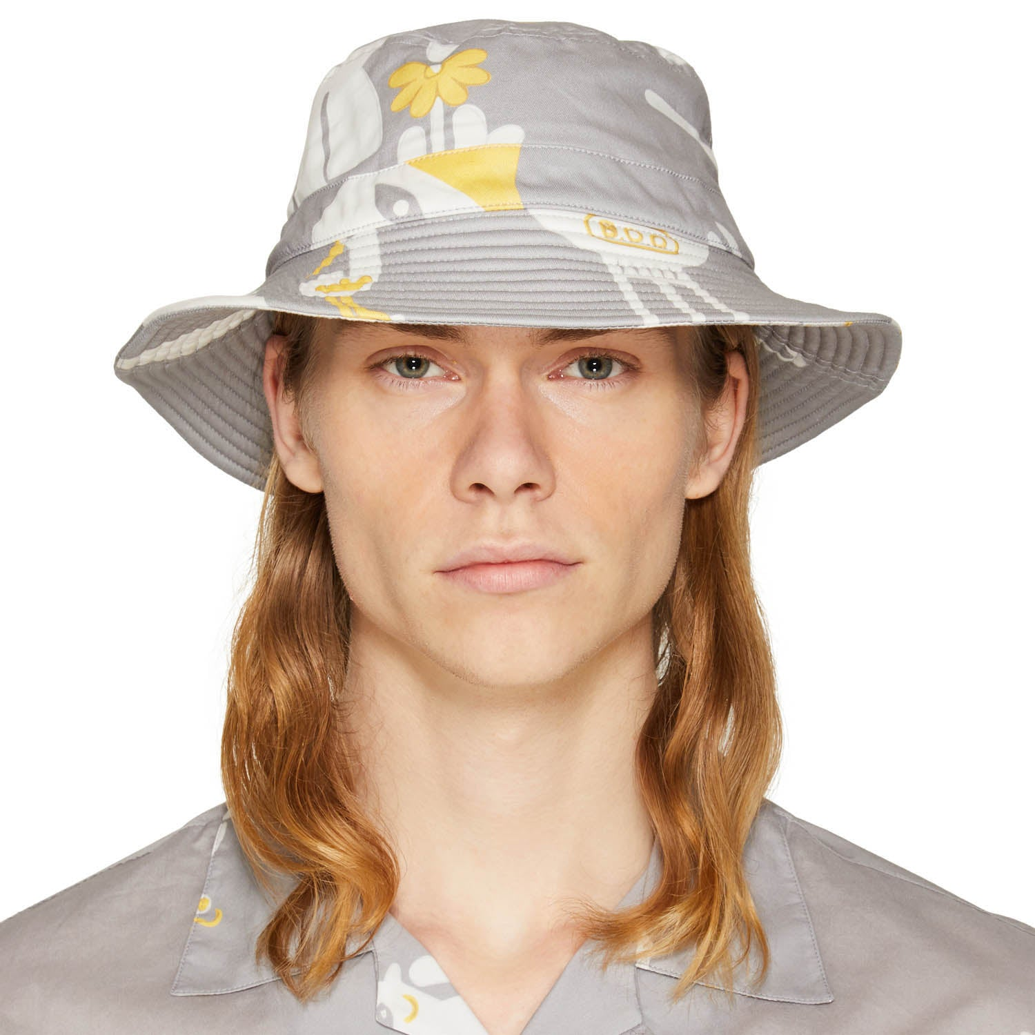 RISO PRINT BUCKET HAT ICE GREY