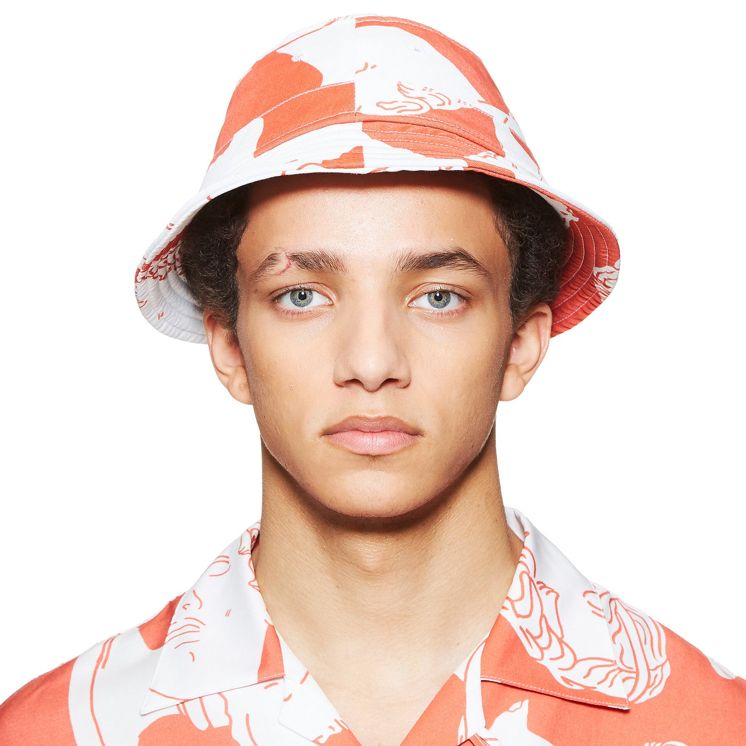 Marble Print Red Bucket Hat