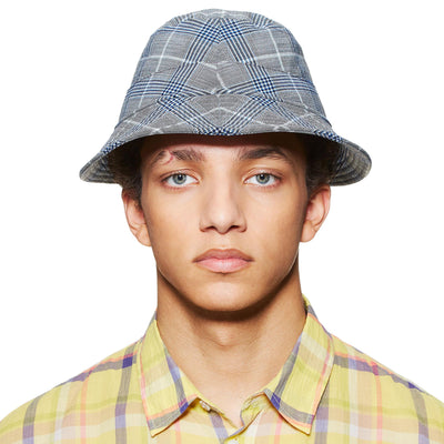 SEERSUCKER GREY/BLUE BUCKET HAT