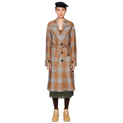 Houndstooth Oversized Long Coat