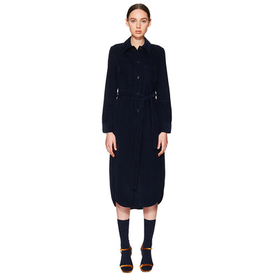 Corduroy Shirt Dress Navy