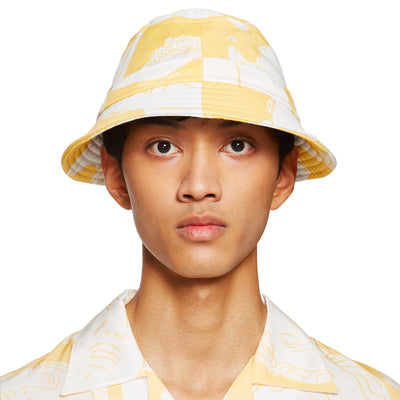 Marble Print Yellow Bucket Hat