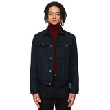 Check Wool Denim Jacket Navy / Green