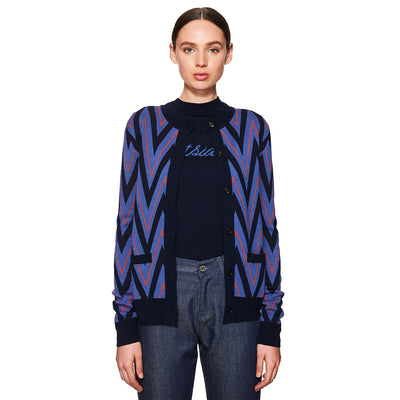 Chevron Cardigan Navy