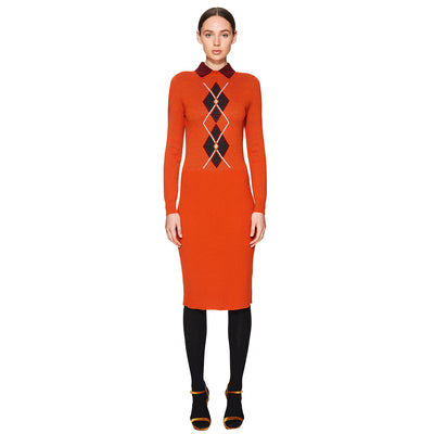 Knitted Argyle Dress Spicy Orange