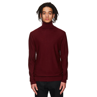 Lightweight Turtleneck Jumper Burgundy