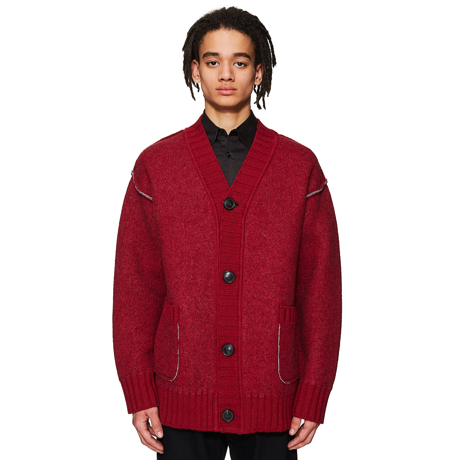 Boiled Wool Cardigan Burgundy
