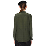 Silk Rocket Print Shirt Moss Green