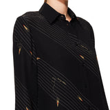 Silk Rocket Print Shirt Black