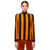 Stripe Pleated Collar Shirt Spicy Orange