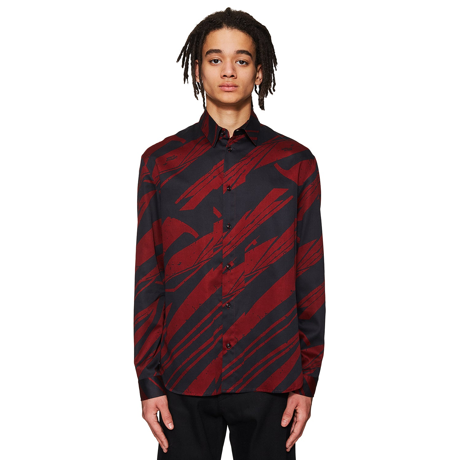 Spaceship Print Shirt Burgundy