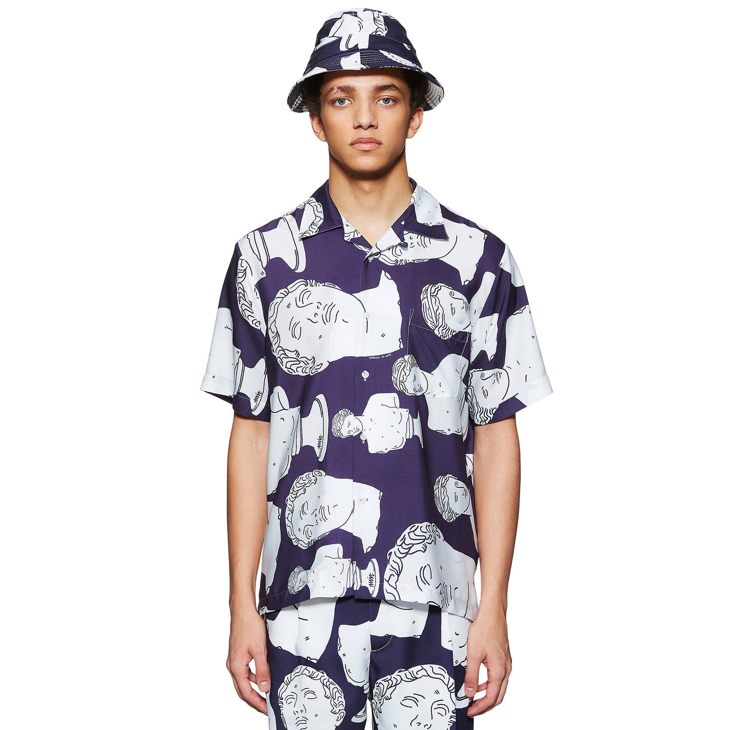 NAVY HAWAIIAN MARBLE SHIRT