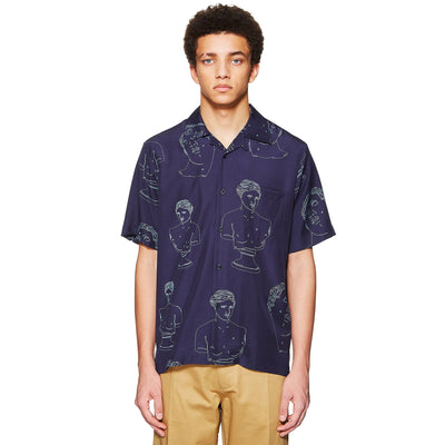 MARBLES TENCEL SUMMER SHIRT NAVY