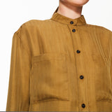 Grandad Collar Shirt Olive Brown