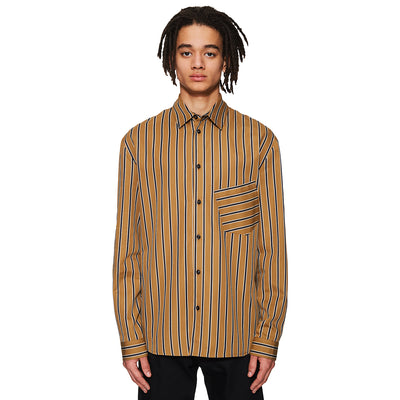 Slanted Pocket Shirt Camel / Navy