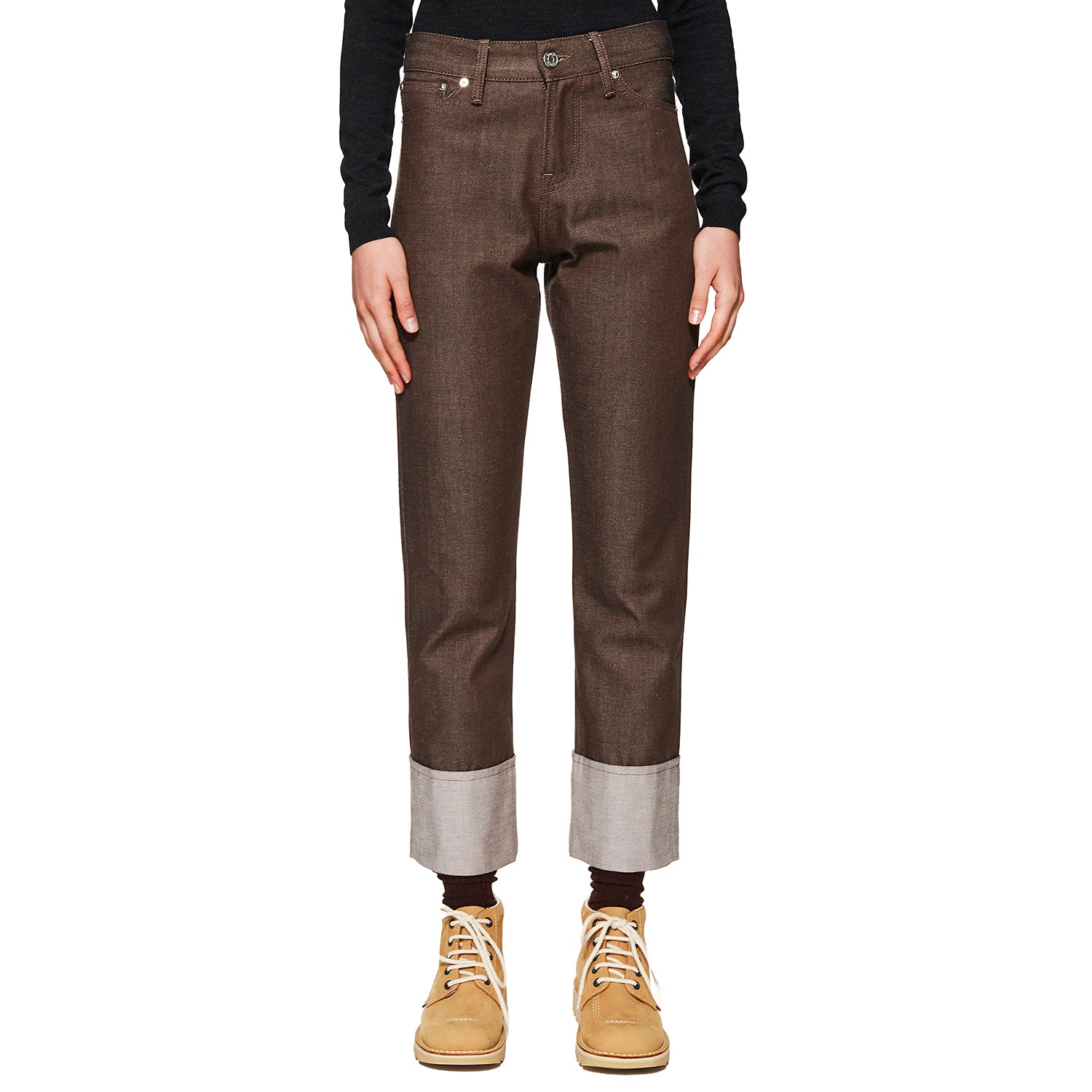 Wool Denim Trousers Brown